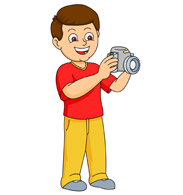 boy taking picture with a camera